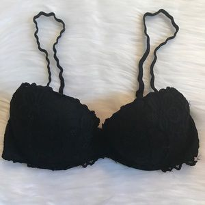 VS PINK DATE PUSH UP BRA 34C BLACK LACE